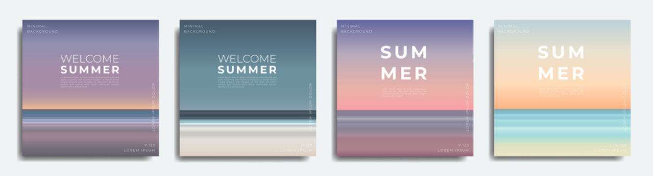 Summer beach background set, gradient with summer colors, nature, beach, sunset and sunrise.