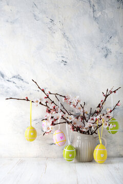 Traditional Easter tree decorated with eggs