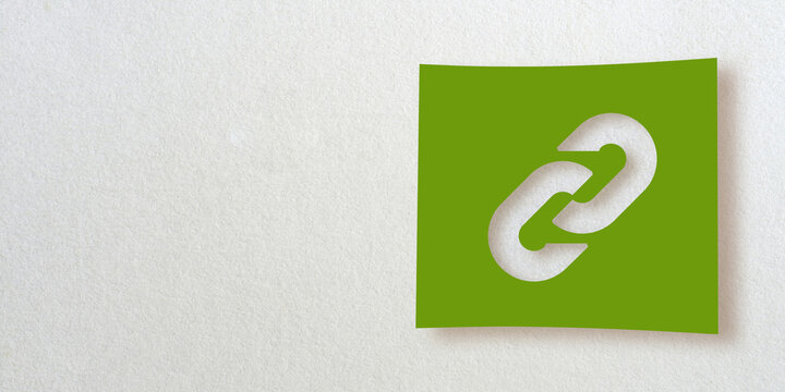 3D render icon collection: Cut out of a link symbol on green square paper. White background. Smooth drop shadow and large copy space. Creative illustration design. Basic graphic shape