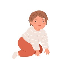 Happy smiling girl crawling. Portrait of kid in home clothes. Little child moving on knees and hands. Flat vector illustration of cute adorable baby isolated on white background
