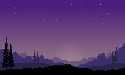 A very beautiful panorama of the night sky with extraordinary natural views from the edge of the city. Vector illustration