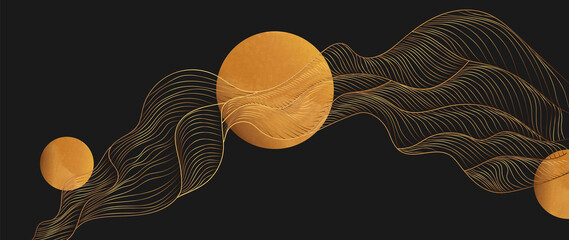 Obraz Gold abstract line arts background vector. Luxury wall paper design for prints, wall arts and home decoration, cover and packaging design. - fototapety do salonu
