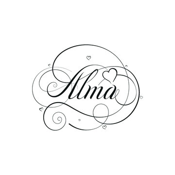"""English Calligraphy """"Alma"""" Name, a unique hand drawn vector design for Wedding and more."""