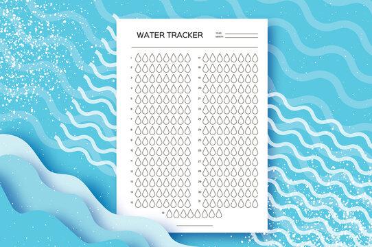 Water Tracker. Water Balance Calendar. Water Monthly Tracker. 31 days. Hydration Challenge. Blue background.