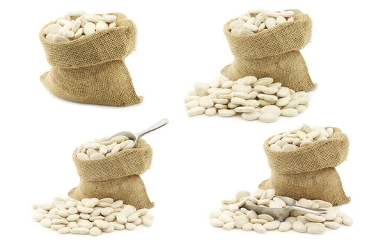 Butter beans (lima beans) in a burlap bag on a white background