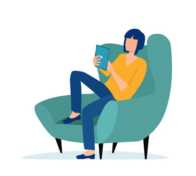 Vector of a young casual woman sitting in armchair using tablet computer