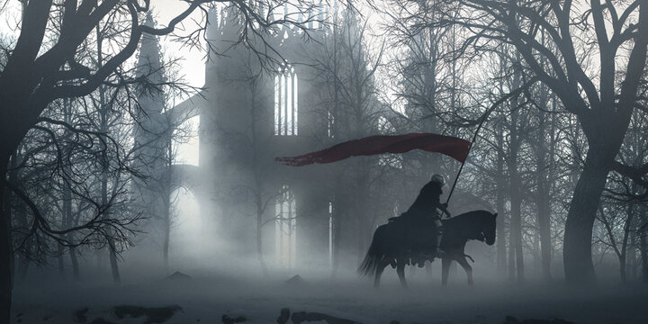 Lone knight riding horse holding a red flag on a winter snowy landscape near an old cathedral in ruins in a foggy cold morning - concept art - 3D rendering
