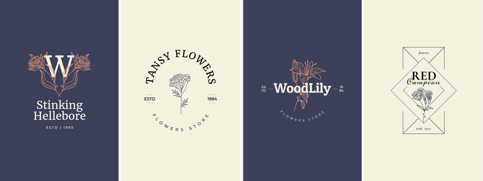 Abstract Flowers Vector Signs or Logo Templates. Retro Floral Illustration with Classy Typography. Feminine Logo. Modern Logo Template for florist, photographer, fashion blogger, design studio.