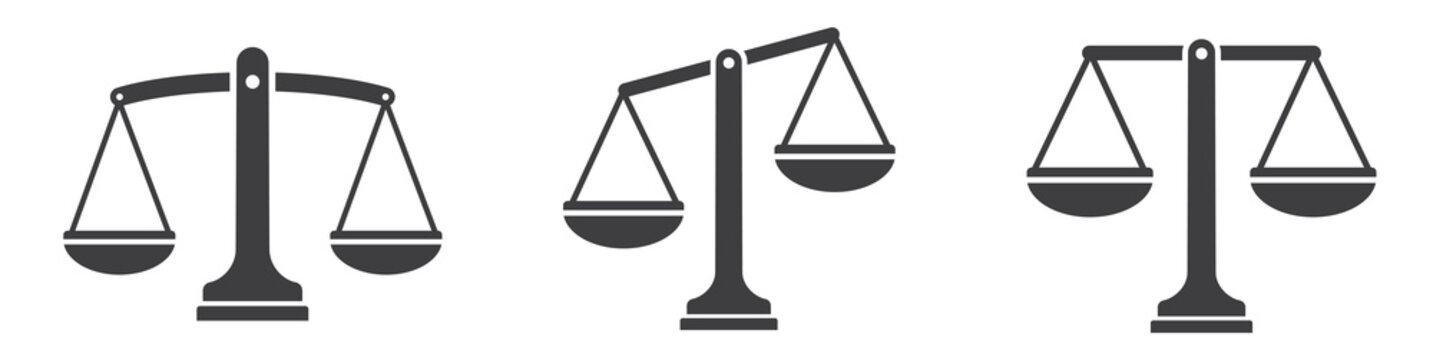 Justice scales icons set . Scales icon collection. Law scale icon. Scales. Libra icon. Flat style.