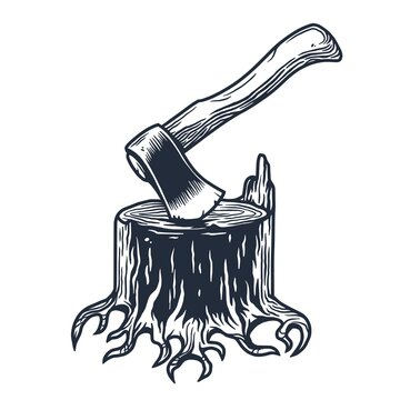 Lumberjack wood stump with axe for logo and emblem of carpenter. Ax and roots for t-shirts print design for axeman, woodsman