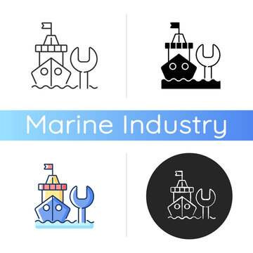 Ship maintenance and repair icon. Repairing floating vessels. Naval engineering. Keeping mechanical equipment going. Linear black and RGB color styles. Isolated vector illustrations
