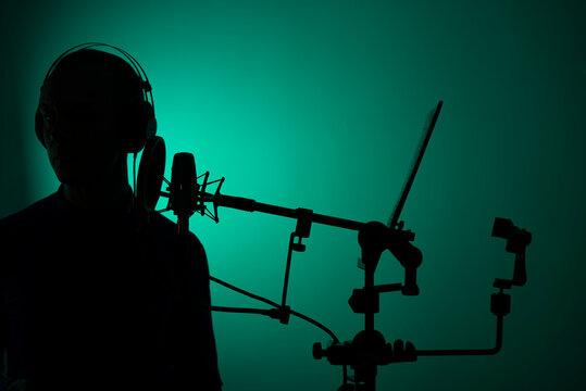 Voiceover actor studio microphone