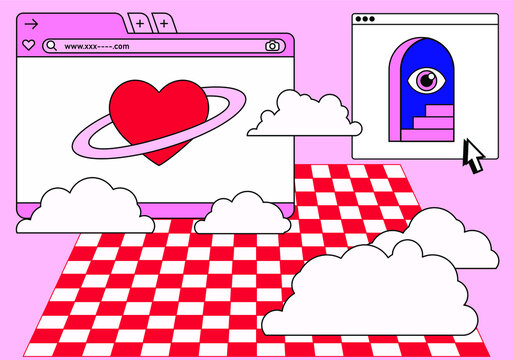 Retro vaporwave desktop with message boxes and user interface elements. Conceptual illustration of dating app.
