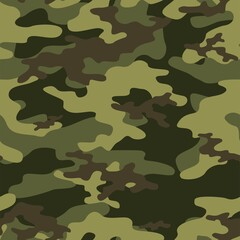 Fototapeta Full seamless abstract military green camouflage skin pattern vector for decor and textile. Army masking design for hunting textile fabric printing and wallpaper. Design for fashion and home design.