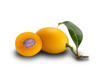 Fototapete - Freshly harvest Marian Plum fruit a whole and a half with leaf on white background with clipping path.