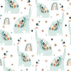 Modèle sans couture avec des éléphants floraux mignons. Texture de floraison créative. Idéal pour le tissu, textile Vector Illustration