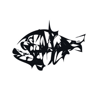 Fish skeleton hand drawn logo icon sign stamp emblem Predator of the deep ocean Ink sketch Natural abstract modern design style Fashion print clothes apparel invitation card cover banner menu poster