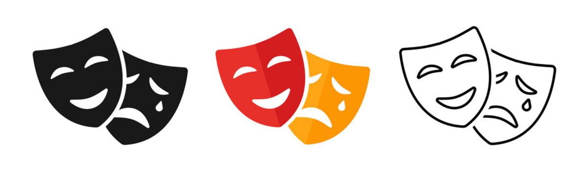 Masquerade vector icon on white background. Comic and tragic mask icon