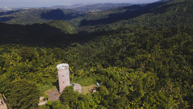 aerial view of Yokahu Tower in El Yunque forest Puerto Rico