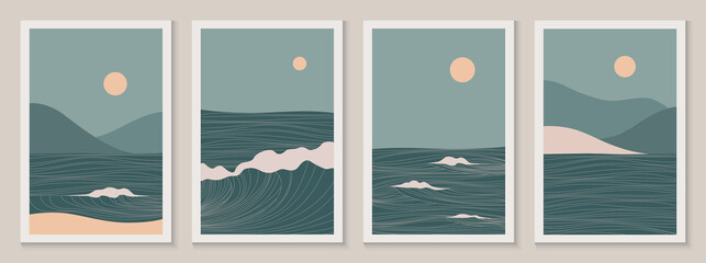 Abstract contemporary aesthetic landscapes set with Sun, Sea, wave, mountains. Mid century modern minimalist line art print. Backgrounds in retro asian japanese style. Vector illustrations