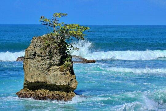 white waves crashing against rock caribbean manzanillo limon costa rica