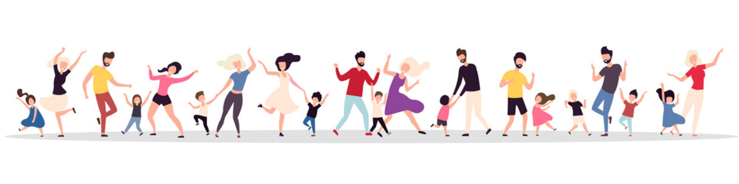 Set of dancing families isolated on a white background. Happy parents and children celebrate the holiday. Family dances and parties. Vector illustration. Flat style