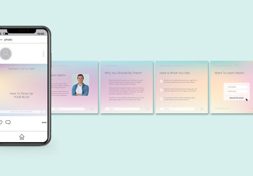 Holographic Gradient Notifications Carousel Layout