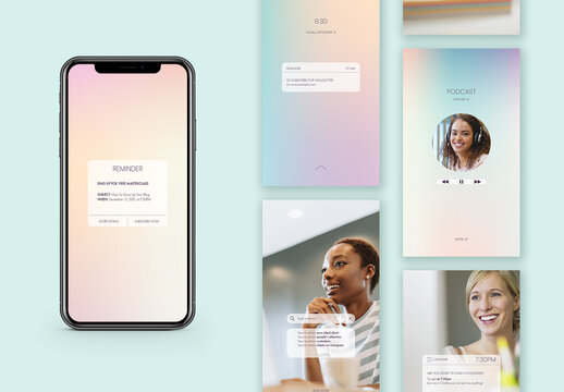 Holographic Gradient Notifications Story Layout
