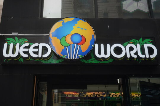 A Weed World store is pictured the day New York State legalized recreational marijuana use in New York City