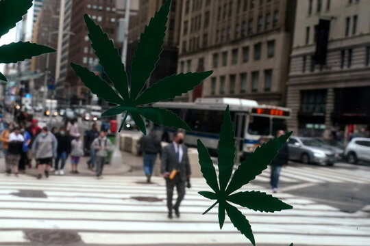Cannabis stickers on a Weed World store window are pictured the day New York State legalized recreational marijuana use in New York City