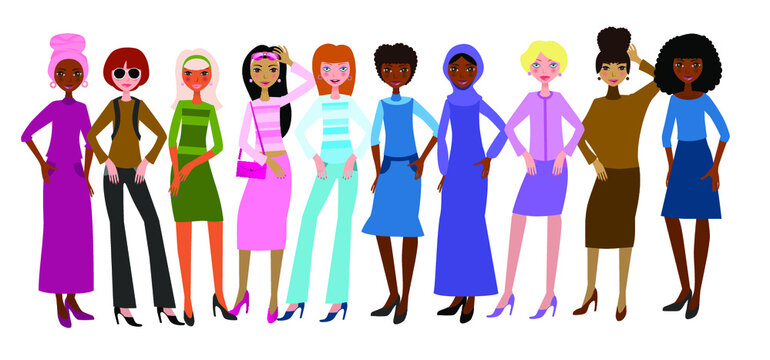 Beautiful women of different skin color,  hairstyle, face types. Avatars of diverse fashionable female characters isolated on white background. Vector illustration