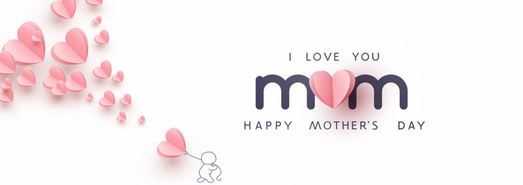 Mother's day postcard with paper flying elements, man and balloon on white sky background. Vector symbols of love in shape of heart for greeting card design