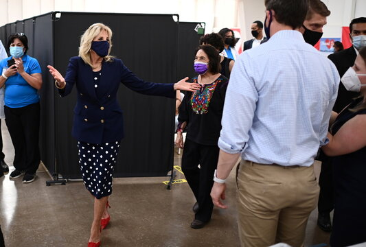 U.S. First Lady Jill Biden departs after visiting a vaccination site at The Forty Acres, the first headquarters of the United Farm Workers labor union, in Delano
