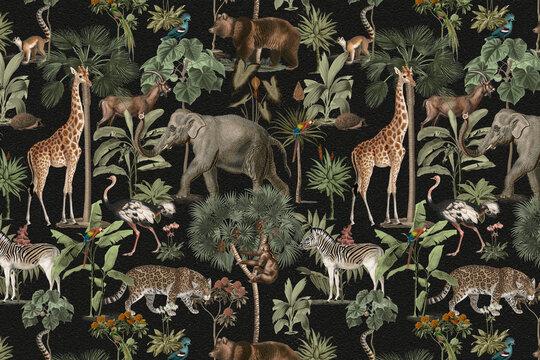Jungle pattern background wild animals