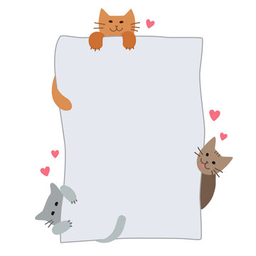 Cute cats paws are holding a blank sheet for your text. Cats with paper, a board for announcements and inscriptions for pet shop, cats food. Flat illustration isolated on a white background. Vector.