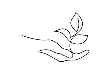 Environment conservation icon in continuous line art drawing style. Plant in human hand as a symbol of nature protection and eco friendly consumption black linear design isolated on white background