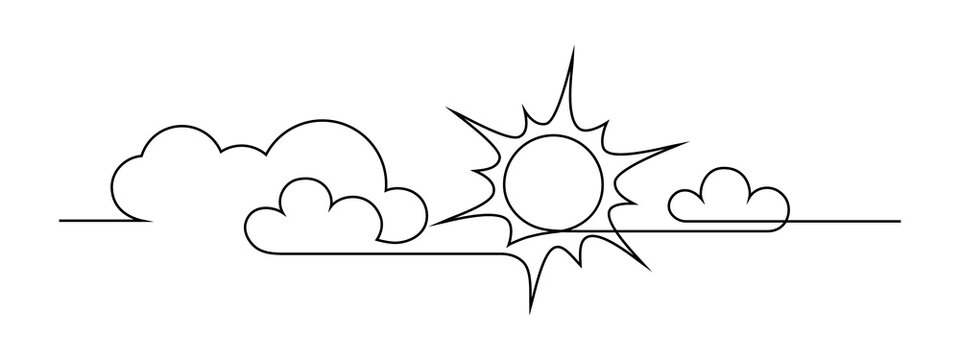 Sun and clouds in the sky. Continuous line art drawing style. Sunny weather minimalist black linear design isolated on white background. Vector illustration