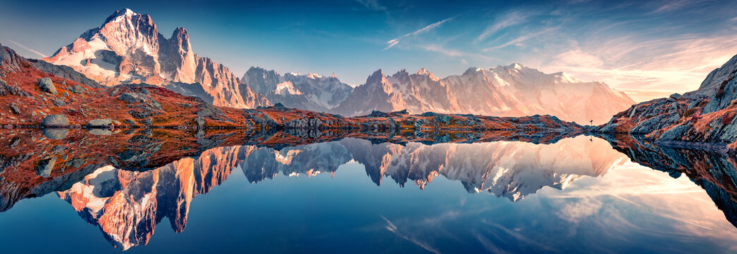 Panoramic autumn view of Cheserys lake with Mount Blank on background, Chamonix location. Spectacular outdoor scene of Vallon de Berard Nature Preserve, Alps, France, Europe.