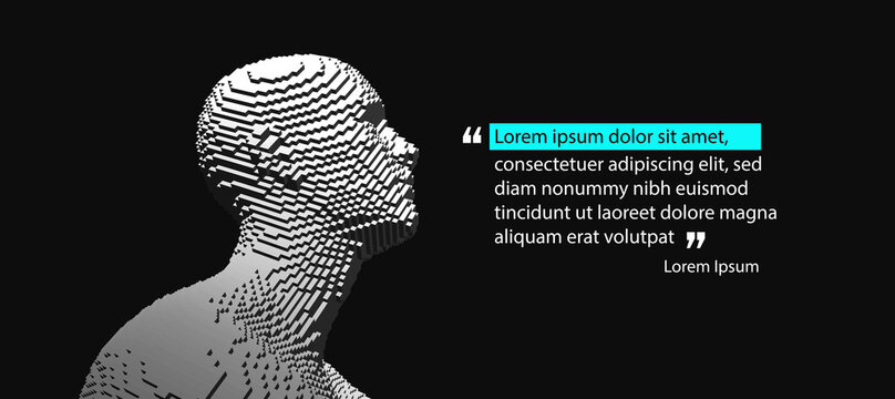 Quoted text. Person leaving comment.  Man face in profile. Cover design template. Voxel art. 3D vector illustration for presentation, social media or print purpose.