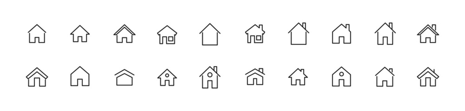 Vector set of house thin line icons.