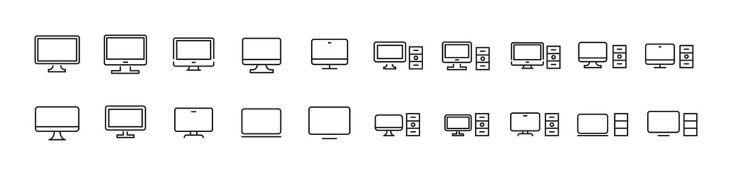 Set of simple computer line icons.