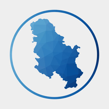 Serbia icon. Polygonal map of the country in gradient ring. Round low poly Serbia sign. Vector illustration.