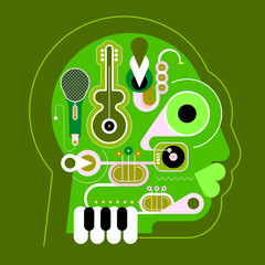 Music Minds. Human head shape design consisting with a different musical instruments.