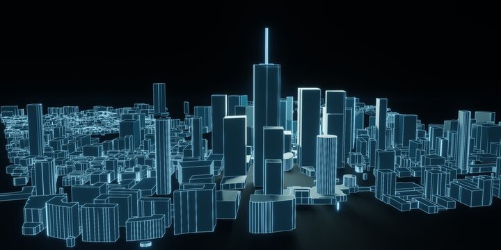 Abstract city 3d rendering background. Modern cityscape in neon lights. retrowave and cyberpunk style