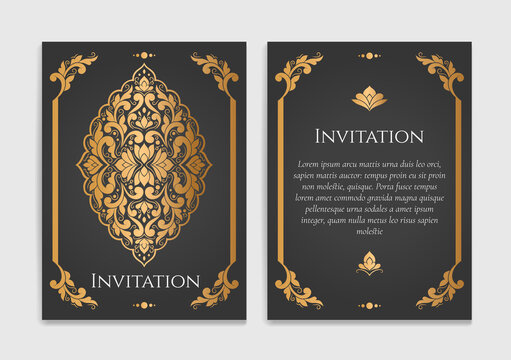 Luxury invitation card design. Vintage ornament template. Can be used for background and wallpaper. Elegant and classic vector elements great for decoration.