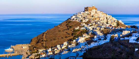 wonderful Greece. white houses of the Astypalea (Astipalaia) island. View of Chora village and the sea over sunset