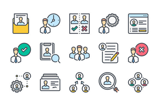 Human resources and recruitment color line icon set. Head hunting and career linear icons. Customer service and HR colorful outline vector sign collection.
