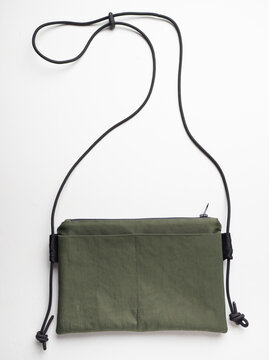 Canvas crossbody bag army green color, black strap. (neutral gender items)