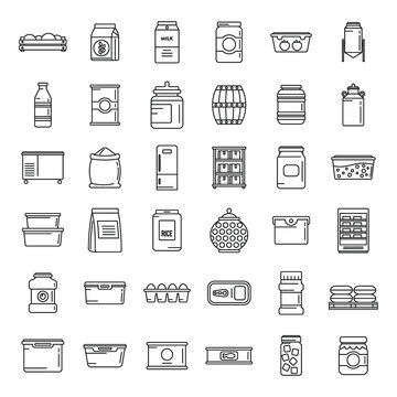 Home food storage icons set, outline style