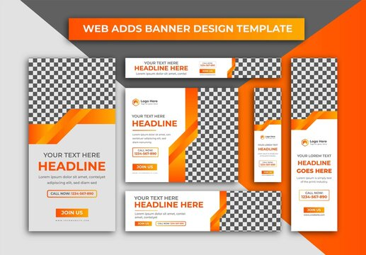 Set Of  Web Banners, Creative Business Yellow, And Orange Colour Web Adds Banner Or Google Ads Cover Design Template